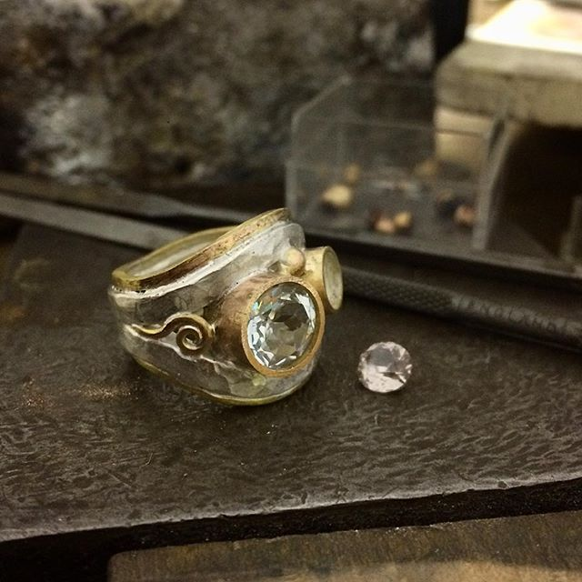 SPOILER ALERT! My client gave me permission to post progress shots of her ring:) In the final stages now. Showing the spiral detail. Still needs to be oxidised for depth and contrast, polished and set. Not long now!!