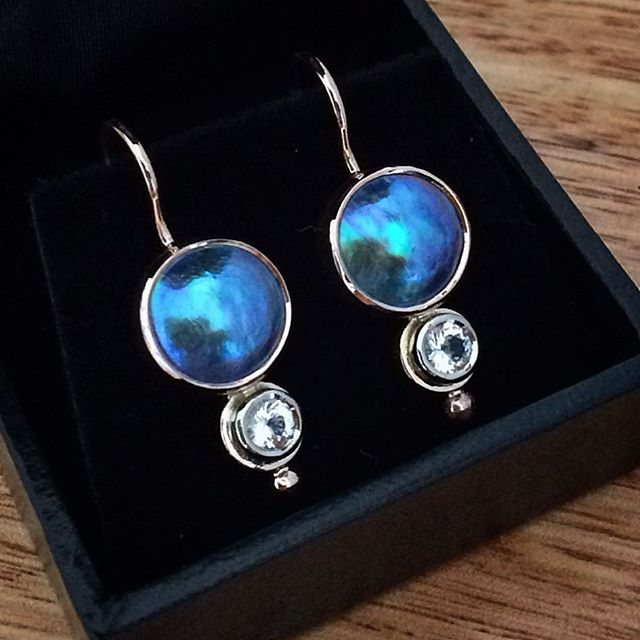 Stunning A Grade Eyris Blue Pearls set with Killiecrankie Diamonds in Rose with a touch of White Gold around the topaz. I love making this design! Custom made for my client who chose the colours to complement her Boulder Opal pendant! What a lovely treat it was to make these! Thank you!