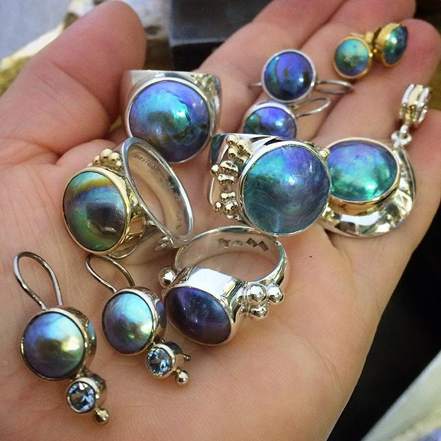 And now to find homes for these babies!! Eyris Blue PearlsVery special prices on all of these but some for a limited time only!! Message me for details, find out your finger size and I can take more photos  they are not yet in my website shop.
