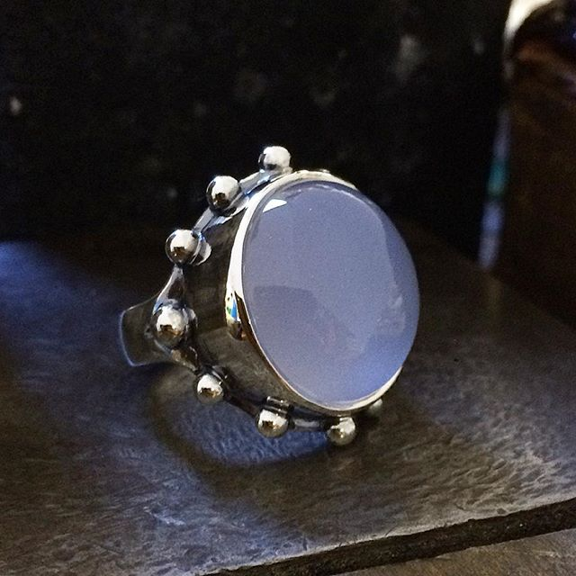 Sooooooooooo in love with this massive natural Blue Chalcedony ring! All finished! Another piece I cabbed from rough stone. What a journey it was making this ring! May not look complicated but it was so fiddly! Totally worth it