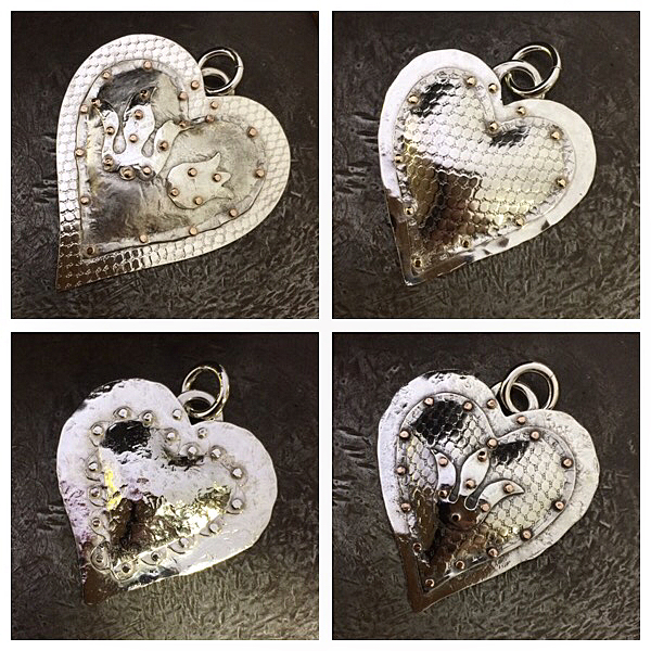 All of these pretty hearts are going on sale. Snap them up so I don't have to put them in my website shop! top left is the bigger one 50x44mm $195, top right 38x35mm $145, bottom left 39x37 $145, bottom right 41x38mm $165 these I made back in 2007-08 during a study I did on combining ancient and modern techniques, textures and riveting without using any solder joins. All except bottom left(all silver)  are Sterling silver with 9ct rose gold rivets. Two have antique design inspired lillies. They are very light and are made from very thin silver sheet. Postage not included. Various silk, neoprene and silver neck bands available. Message me for more info