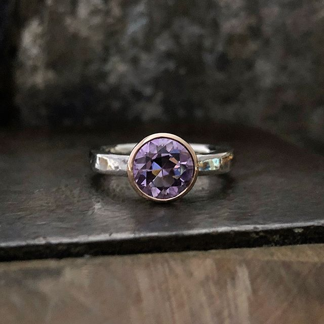 A sweet little 8mm Amethyst ring finished today! Tapered rose gold bezel with a beaten silver band. A common style of mine but this ones has a slightly finer band. One of a few I am yet to make size  O