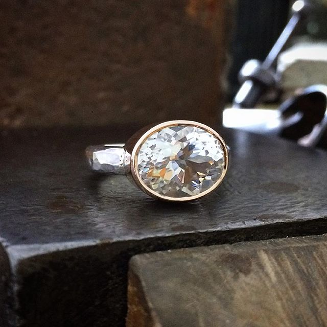 A stunning sparkling Oval Killiecrankie Diamond, Topaz from Flinders Island Tasmania. Made especially for a special customer Set in Rose Gold and Silver @laurenharrisjewellery