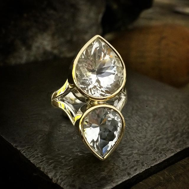 Twice as nice!! A sparkling whopper of a ring yet simplistic and elegant. Two Killiecrankie Diamonds which are Topaz found on Flinders Island Tasmania. The smaller stone  displays some subtle natural inclusions which to me highlight their natural beauty. The cuts are stunning! Set in gold and silver. Available @theempressandwolf in beautiful Daylesford Victoria. This one is size N 1/2