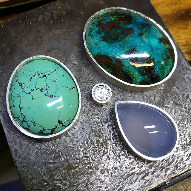 Playing with some really pretty colours for some new pendants! These ones I cut myself from rough. The turquoise from Shiyan Hubei China is stabilised for hardness and I I have been  told it is colour should be natural but I love it regardless. The blue/mauve chalcedony is from Africa and the Chrysocolla is from Arizona both natural. The settings will be fairly simple because the rocks really speak for themselves